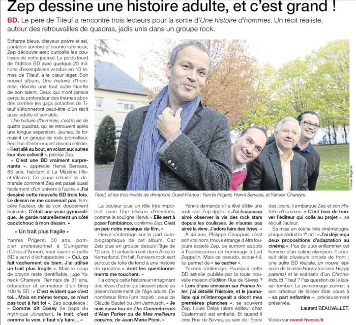 Article Ouest France rencontre Zep